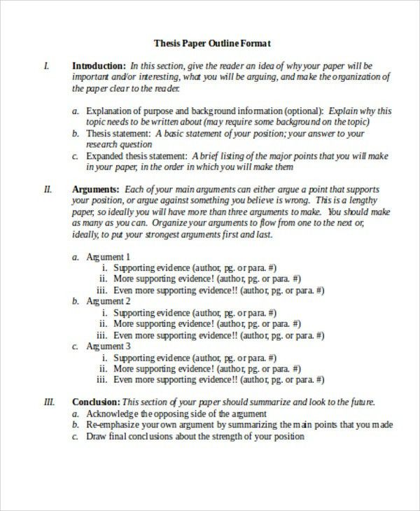8 Thesis Outline Templates - Free Sample ,Example, Format Download ...