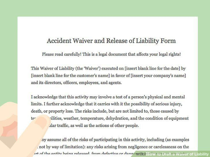 How to Draft a Waiver of Liability (with Pictures) - wikiHow