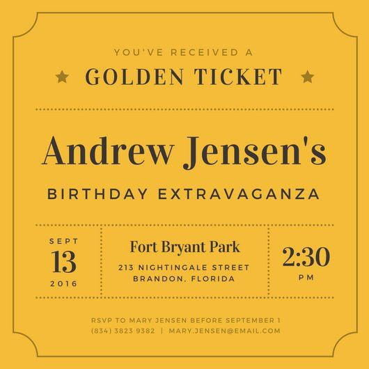 Golden Ticket Birthday Invitation - Templates by Canva