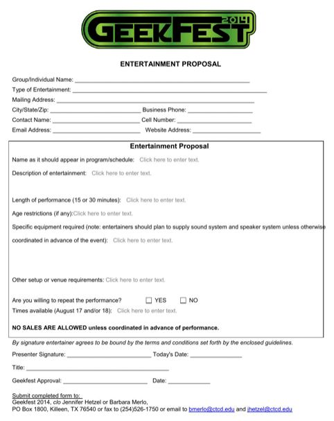 Entertainment Business Proposal Template for Excel, PDF and Word