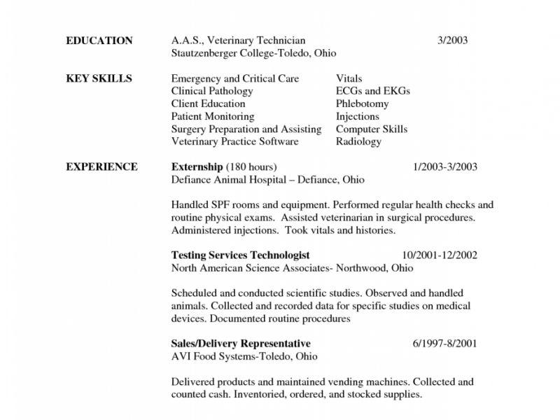 Nice Design Ideas Veterinary Technician Resume 6 Sample Vet Tech ...