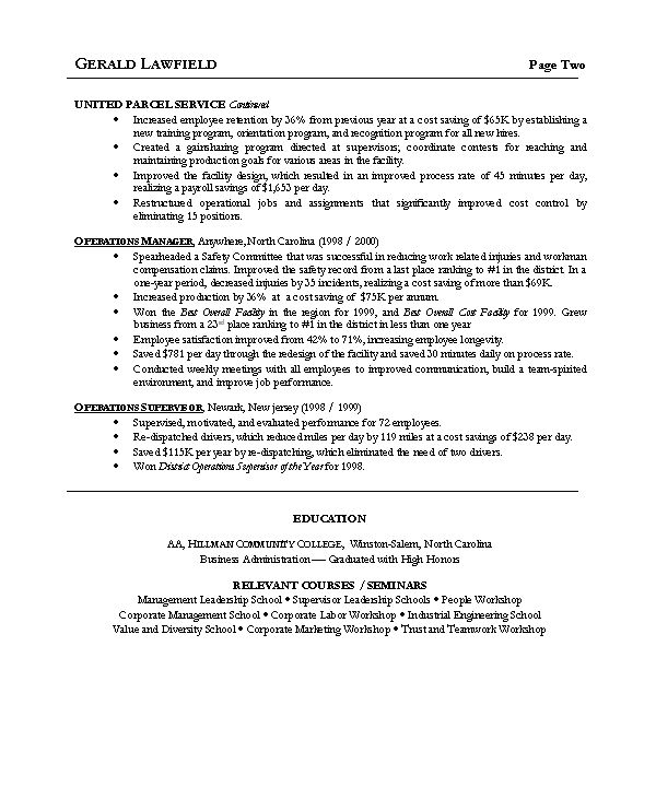 operations manager cv example operation management resume resume ...