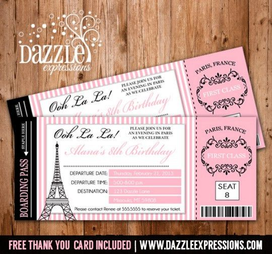Printable Paris Boarding Pass Invitation - Kids Ticket Invitation ...