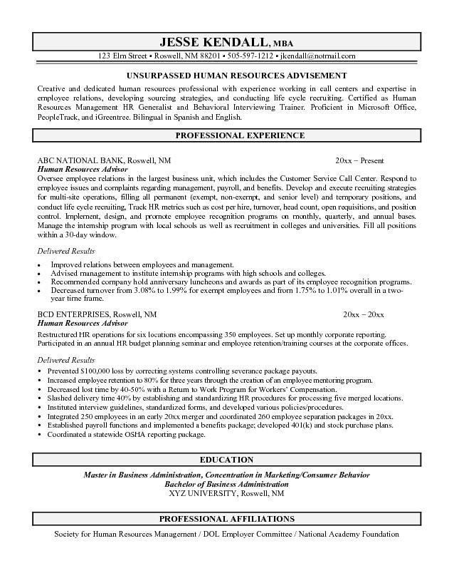 Free Human Resources Advisor Resume Example