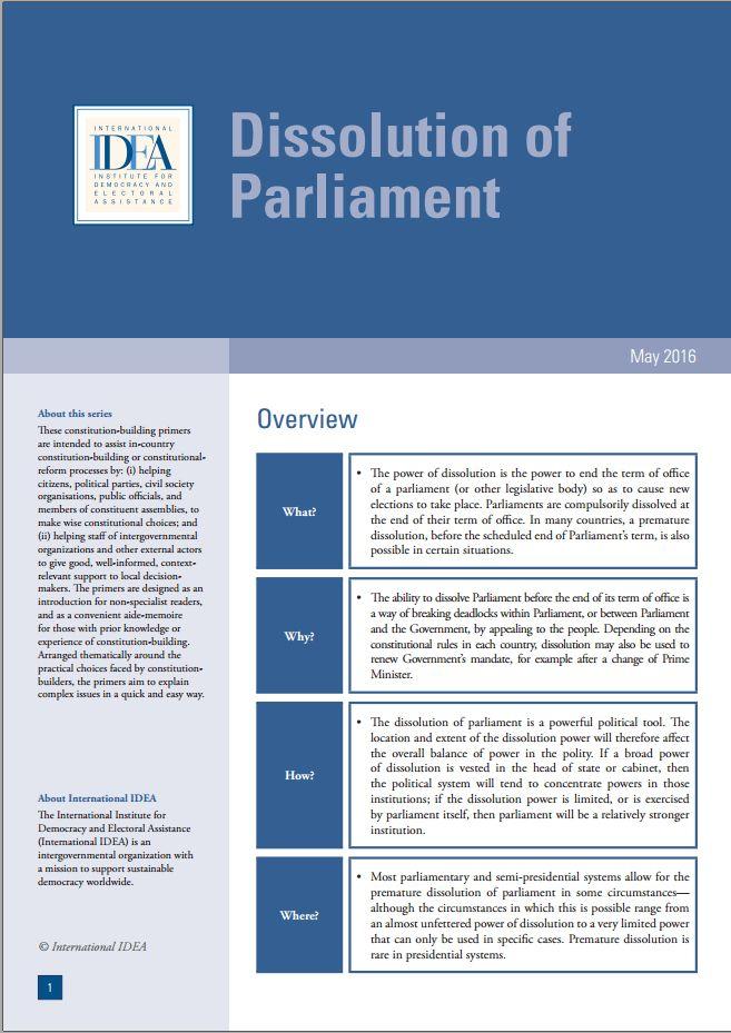Dissolution of Parliament | ConstitutionNet