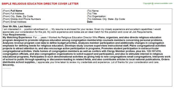 Director Religious Education Cover Letters