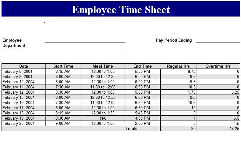 Sample Daily Timesheet. Free Printable Daily Time Sheets Template ...