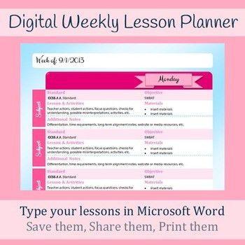 Digital Weekly Lesson Plan Template - Microsoft Word - Printable ...