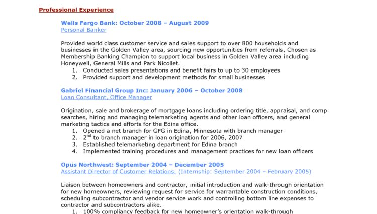 personal banker resume professional objective - Writing Resume ...