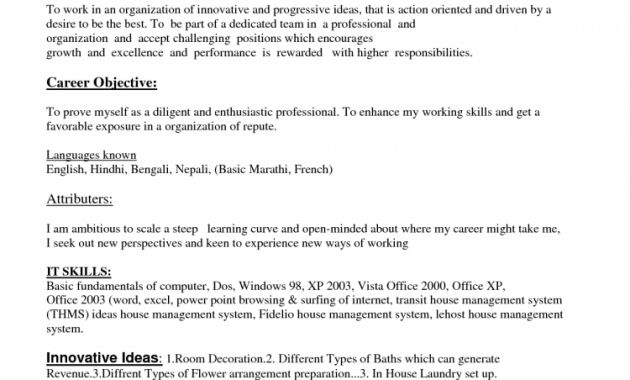 Housekeeping Resume Objectives. Sample For College Students Easy ...