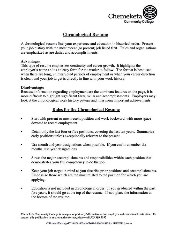 Chronological Resume Template. Format Resumes Sample Resume ...