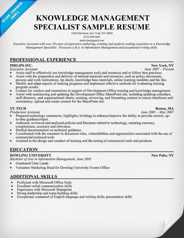 Resume Sample Knowledge Management Specialist | Resume Template