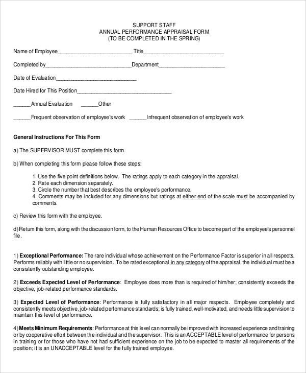 Sample Performance Appraisal Form - 6+ Documents in PDF