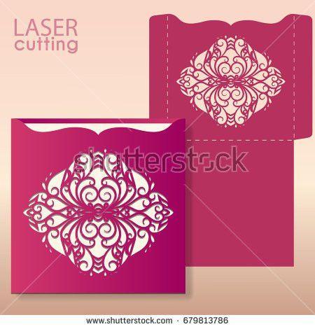 Laser Die Cut Envelope Template Vector Stock Vector 679813753 ...