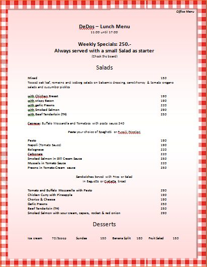 7+ menu templates for microsoft word | Procedure Template Sample