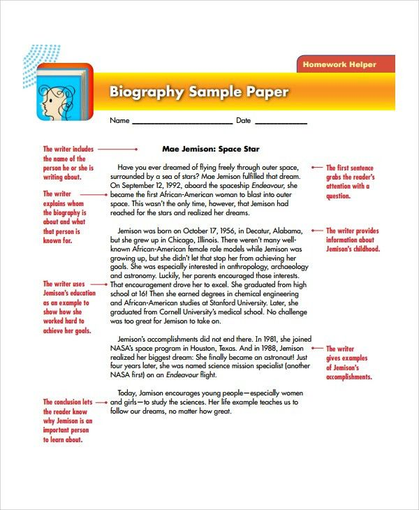 Biography Example. Sample Shakepeare Biography Outline Template ...