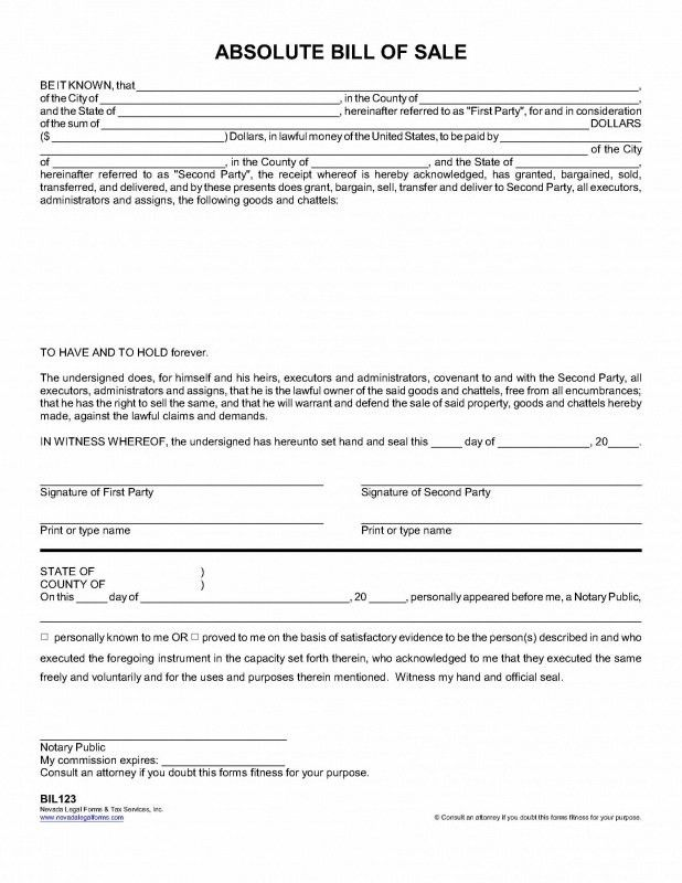 ABSOLUTE BILL OF SALE - Nevada Legal Forms & Tax Services Inc.