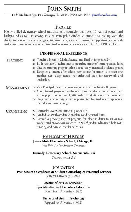 Teacher Resume Sample - Hire Me 101