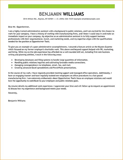 Admin assistant cover letter sample - Business Proposal Templated ...