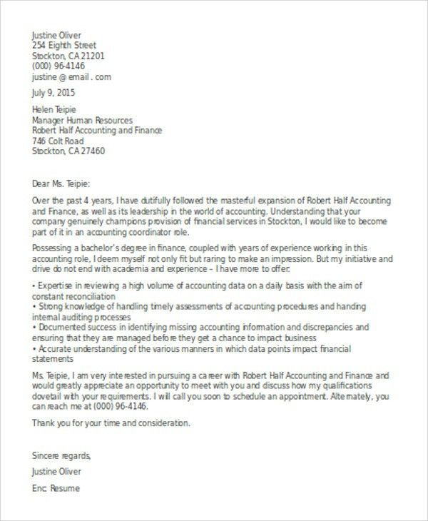 10+ Accounting Cover Letters - Free Sample, Example Format ...