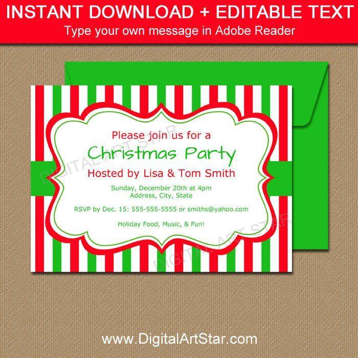 Christmas Invitation Template EDITABLE Xmas Invitations Cute