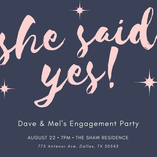 Navy Blue Pink Sparkle Engagement Party Invitation - Templates by ...
