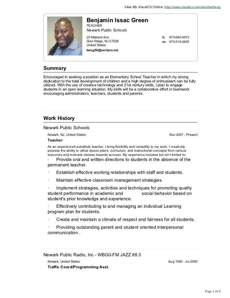 Benjamin green visual cv resume