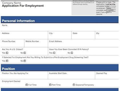 4 Customizable Employee Job Application Forms (PDF + Word)
