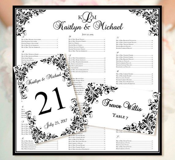 """Wedding Seating Chart """"Kaitlyn"""" Black Templates Set Includes ..."""