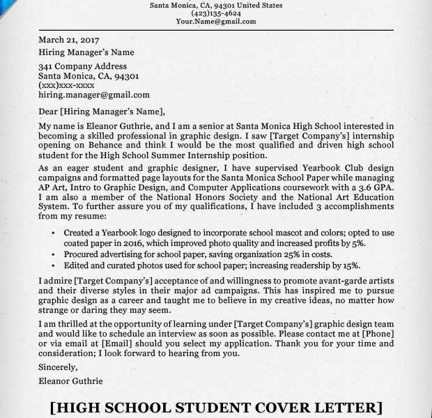 Download Sample Cover Letter Student | haadyaooverbayresort.com