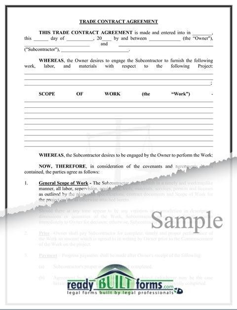 Trade Contract Agreement – Homeowner Friendly-Download Now