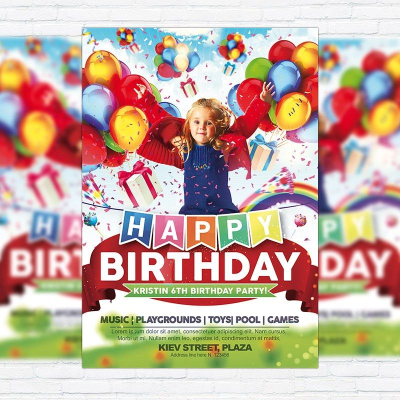 Kids Happy Birthday – Premium Flyer Template + Facebook Cover ...
