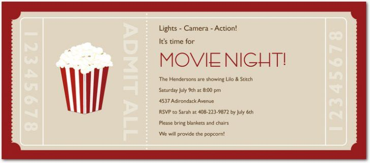 Movie Invitations Template. movie night party invitations template ...