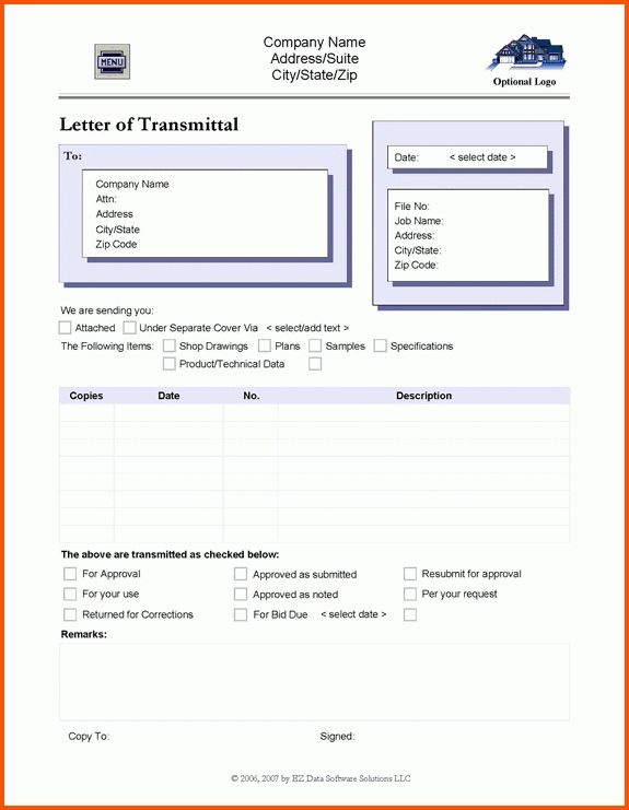 8+ transmittal template | Survey Template Words