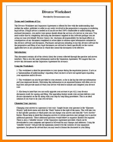 Sample Divorce Agreement. Printable Sample Divorce Template Form ...