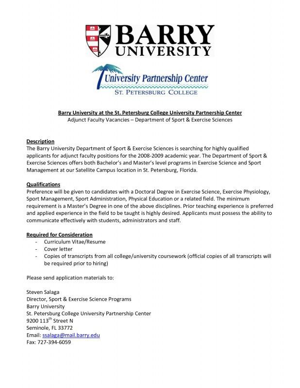 Resume For Adjunct Teaching Position | Samples Of Resumes