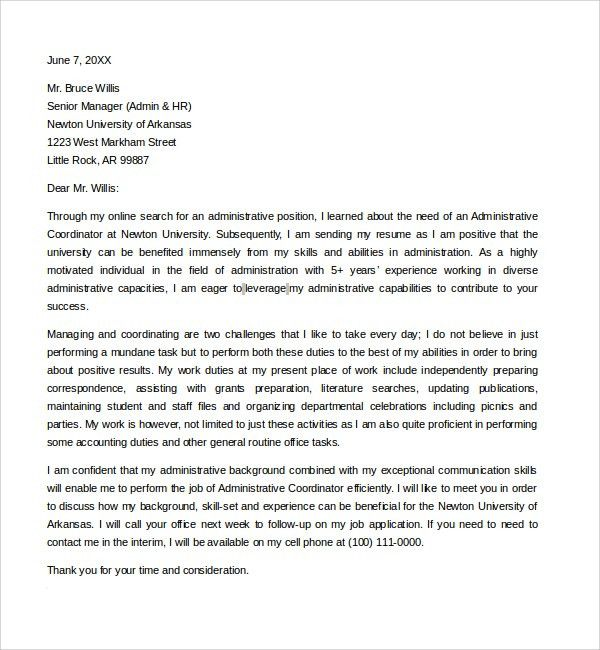 administrative position cover letters