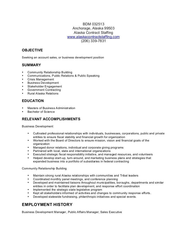Business Development Manager Resume BSD 032513