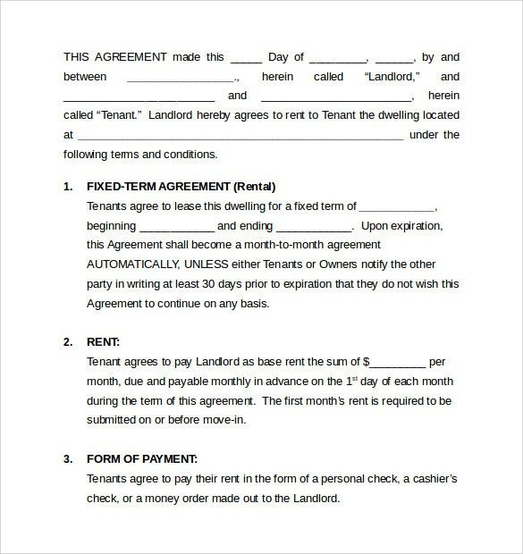 Sample Monthly Rental Agreement   6+ Documents In Word, PDF