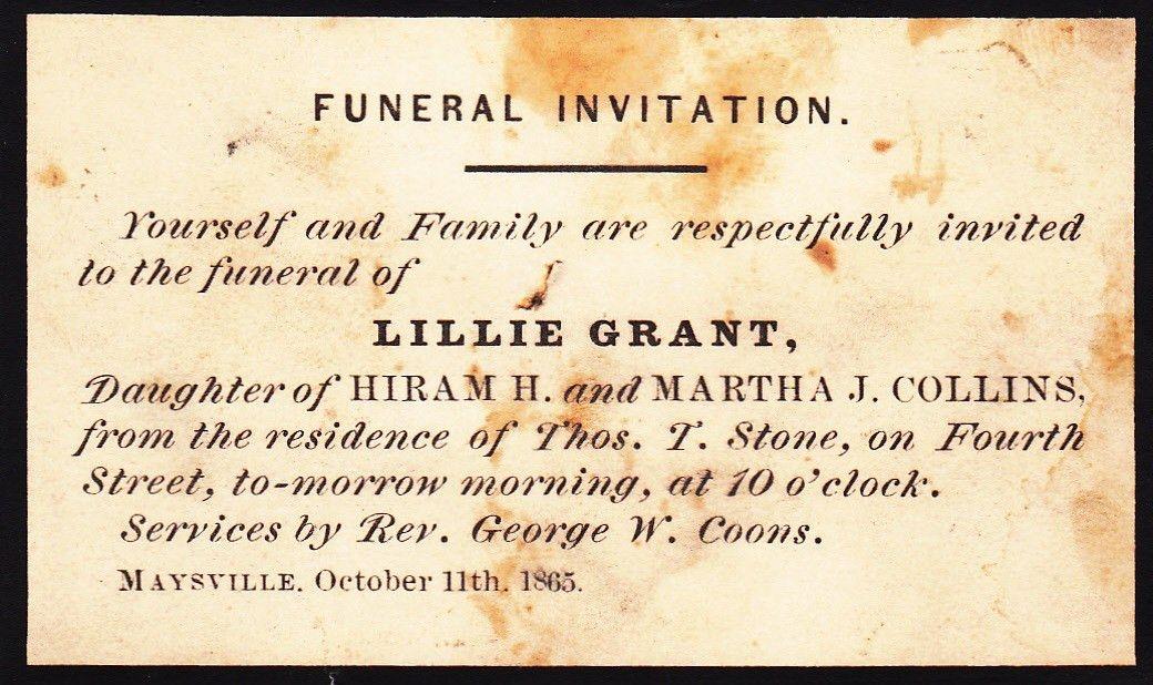 Antique Funeral Invitation,Lillie Grant | Vintage Funerals ...