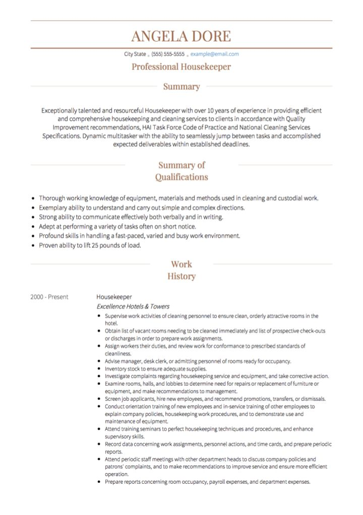 Housekeeping CV examples and template