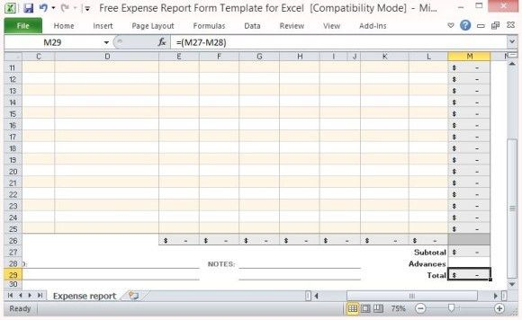 Free Excel Expense Report Template | Free Business Template