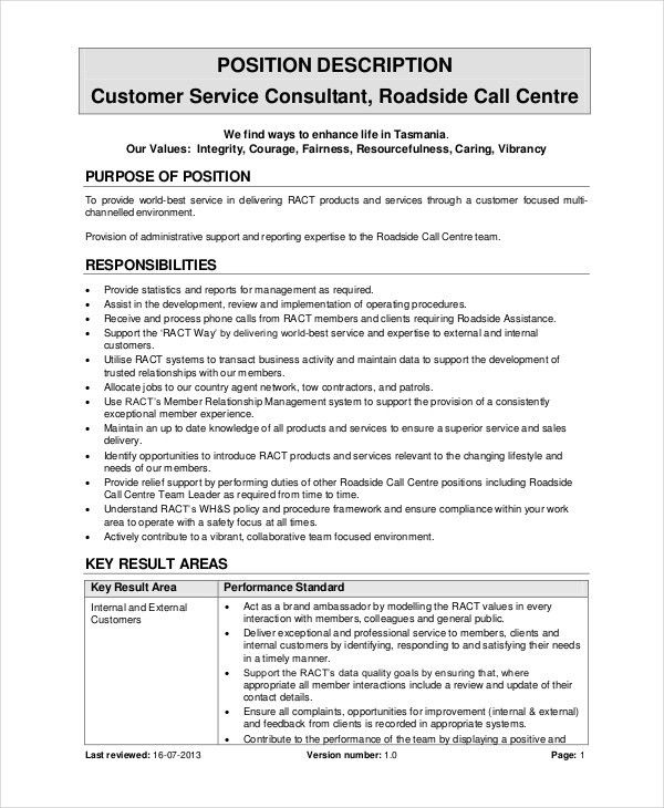 Call Center Job Description - 11+ Free Word, PDF Documents ...