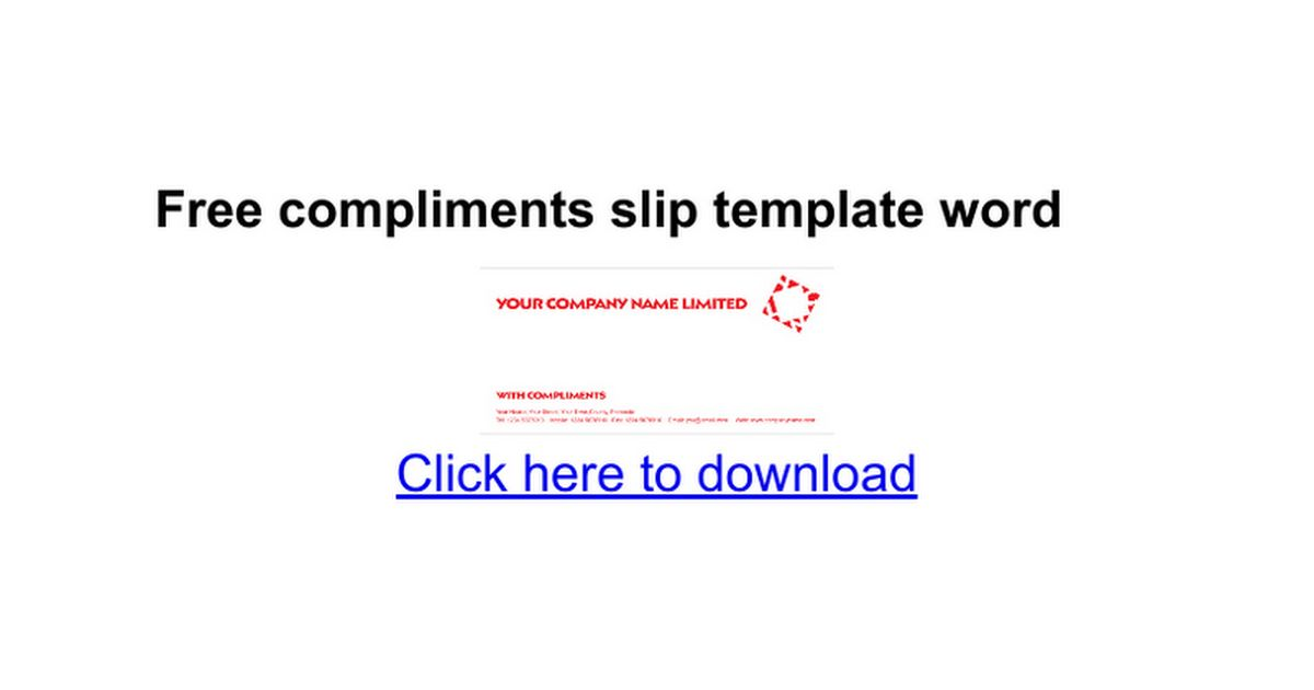 Free compliments slip template word - Google Docs