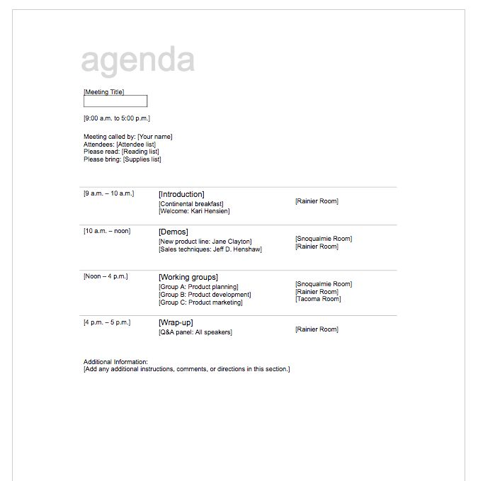 5+ Free Meeting Agenda Template | Top Form Templates | Free ...