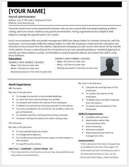 Payroll Administrator Resumes for MS Word | Resume Templates