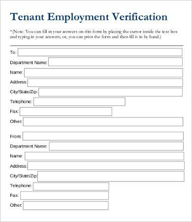 Employment Verification Form Template - 5+ Free PDF Documents ...