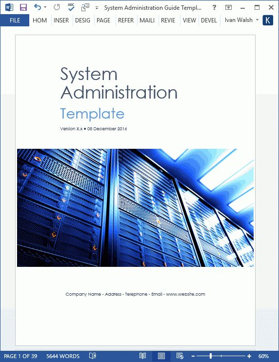 System Administration Guide - MS Word and Excel Template