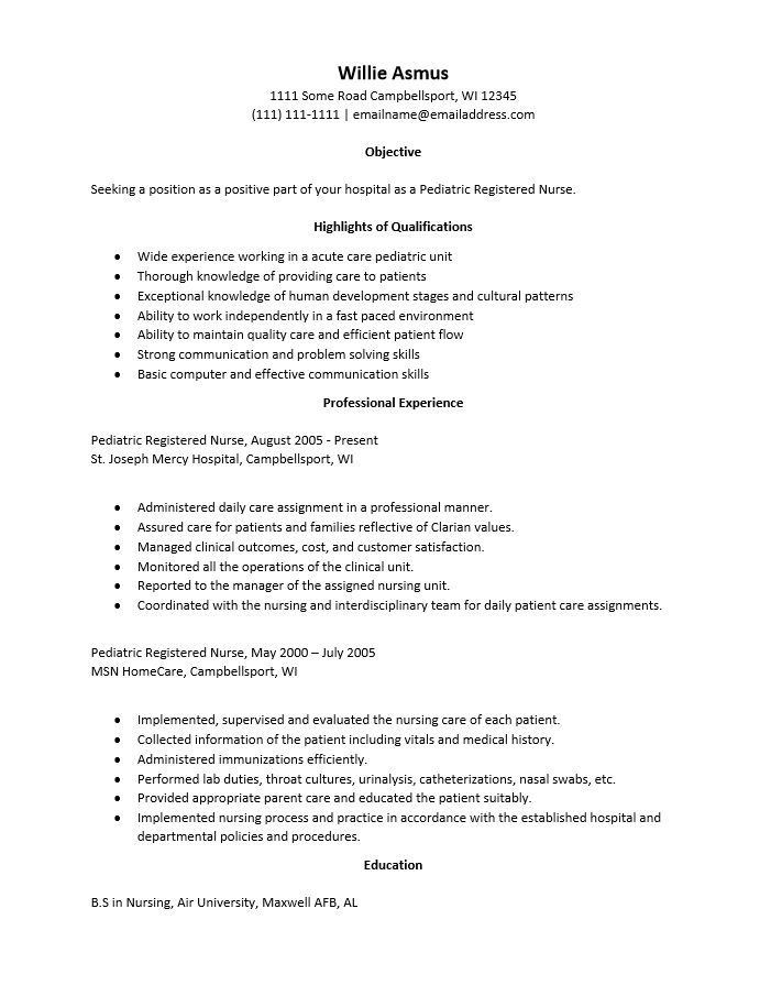 Free Pediatric Care Nurse Resume Template | Sample | MS Word