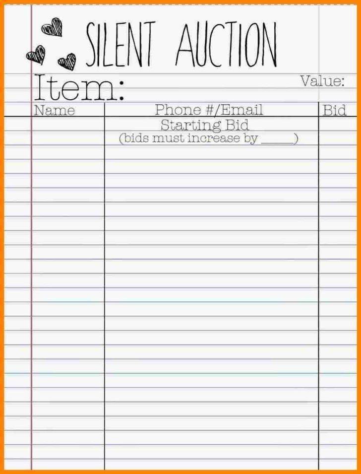 Silent Auction Bid Sheet Template | HAISUME
